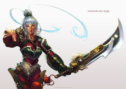 1girl absurdres alternate_costume armor character_name dragonblade_riven feathers gloves hair_bun highres league_of_legends monori_rogue pink_eyes riven_(league_of_legends) simple_background single_glove solo sword weapon white_background white_hair