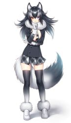 1girl animal_ears black_jacket black_legwear breasts full_body fur_collar gloves grey_wolf_(kemono_friends) hattori_masaki high_resolution highres jacket junoct2000 kemono_friends large_breasts long_hair looking_at_viewer multicolored_hair necktie open_clothes open_jacket shiny shiny_skin simple_background skindentation skirt solo standing tail thighhighs two-tone_hair white_background white_gloves wolf_ears wolf_tail zettai_ryouiki