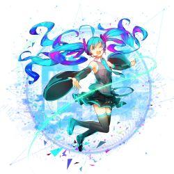 1girl aqaqico aqua_eyes boots detached_sleeves floating_hair hatsune_miku headset highres jumping long_hair looking_at_viewer multicolored_hair necktie one_eye_closed open_mouth skirt smile solo thigh_boots thighhighs twintails very_long_hair vocaloid white_background zettai_ryouiki