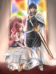 1boy 1girl 2014 blue_hair braid chair couple dated detached_sleeves dress fire_emblem fire_emblem:_kakusei hairband husband_and_wife krom olivia_(fire_emblem) otoka_hisagi pink_hair ponytail sheath shoulder_guard sitting sleeveless_dress stained_glass sword