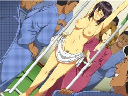 2girls 6+boys arms_up assisted_exposure black_hair blush breasts brown_hair cleavage clenched_teeth clothed_male_nude_female collarbone covering dark_skinned_male embarrassed exhibitionism japanese_clothes legs multiple_boys multiple_girls navel nipples nude pubic_hair smile tears thighs train train_interior