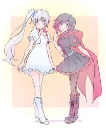 2girls alternate_costume black_hair boots cape commentary earrings flat_chest frilled_skirt frills highlights iesupa jacket jewelry multicolored_hair multiple_girls necklace pantyhose parody red_hair ruby_rose rwby skirt weiss_schnee white_hair