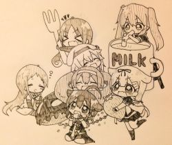 >_< 6+girls :d =_= ^_^ ahoge beret chibi commentary_request cup doughnut drinking drooling eyes_closed fang fingerless_gloves food fork fruit gloves hair_flaps hair_ornament hair_ribbon hairband hairclip harusame_(kantai_collection) hat jakoo21 kantai_collection kneehighs long_hair milk monochrome multiple_girls murasame_(kantai_collection) necktie open_mouth pleated_skirt remodel_(kantai_collection) ribbon samidare_(kantai_collection) school_uniform serafuku shigure_(kantai_collection) shiratsuyu_(kantai_collection) short_hair short_sleeves skirt smile straw strawberry suzukaze_(kantai_collection) twintails xd yuudachi_(kantai_collection)