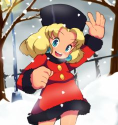 1girl blonde_hair blush buttons coat earrings fur_hat hat jewelry kalinka_cossack looking_at_viewer mato_spectoru rockman rockman_(classic) smile solo