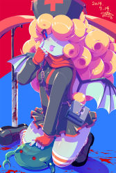 1girl belt blonde_hair blood blue_background blue_eyes blue_skin breasts dated demon_wings fingerless_gloves gloves hat highres long_hair nurse_cap original rapama red_background red_sclera simple_background solo striped striped_legwear thighhighs tongue tongue_out wings zettai_ryouiki