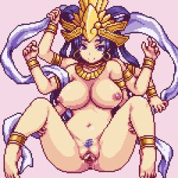 1girl animated animated_gif anus areolae ass barefoot blue_eyes blue_hair bouncing_breasts breasts earrings feet goddess jewelry kali large_breasts loop monster monster_girl multi_limb nipples nude pixel_art pubic_hair pussy sb sex spread_legs spread_pussy toes uncensored vaginal