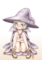 1girl 90s berserk blue_eyes blush boots cape embarrassed female full_body gem gradient gradient_background green_hair hat knees_up leg_hug loli looking_at_viewer no_panties pussy robe schierke short_hair sitting solo taryl uncensored wavy_mouth white_background witch witch_hat yellow_background