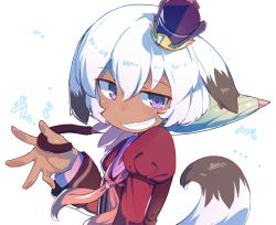 1girl :3 androgynous animal_ears arm_at_side arm_garter arm_up bangs blush bob_cut child closed_umbrella crown dark_skin evil_grin evil_smile eyebrows eyebrows_visible_through_hair fang flat_chest fox_ears fox_girl fox_tail from_side grin hair_between_eyes half-closed_eyes holding holding_umbrella juliet_sleeves long_sleeves looking_at_viewer looking_to_the_side mini_crown monosenbei neckerchief onomatopoeia open_hand over_shoulder parted_bangs pink_neckerchief puffy_sleeves purple_eyes raised_eyebrows sailor_collar seisen_cerberus seisen_cerberus_ryuukoku_no_fatalite sharisharei sharisharuu_(seisen_cerberus) short_hair simple_background smile solo sound_effects tail teeth text translation_request umbrella upper_body white_background white_hair wind wind_lift