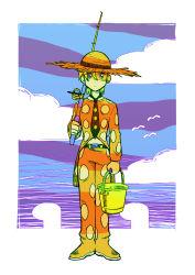 1boy belt bird blonde_hair blue_eyes bucket cloud dododo_dadada expressionless fishing_rod food fruit full_body hat jojo_no_kimyou_na_bouken male_focus necktie pannacotta_fugo seagull solo strawberry sun_hat