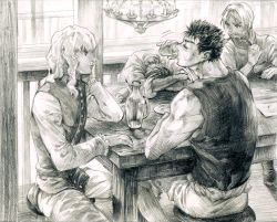 4boys berserk black_hair chandelier chin_rest corkus drinking eating food freckles glass graphite_(medium) greyscale griffith guts judeau kkuwa long_hair male_focus meat monochrome multiple_boys ponytail short_hair sitting sketch table traditional_media wavy_hair white_hair