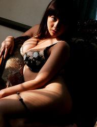 1girl armchair asian ayami_sakurai bra breasts chair female japanese large_breasts long_hair panties panty_pull photo sitting solo underwear underwear_only
