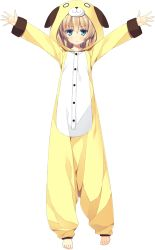 1girl animal_costume animal_hat animal_hood arms_up barefoot blue_eyes dog_costume feet full_body hat highres hood juukishi_cutie_bullet outstretched_arms sara_tefal simple_background sleepwear solo transparent_background white_background yuuki_hagure
