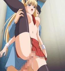 1girl airi_akizuki animated animated_gif blonde_hair blue_eyes blue_gale blush bounce bouncing_breasts cat_ears censored cosplay erect_nipples incest moaning oni_chichi poro pussy_juice sex skirt spread_legs thighhighs tie twintails