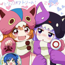 2girls :d :o aikatsu! animal_hat bangs blue_eyes blue_hair blunt_bangs blush brown_hair cat_hat fangs gloves hat heart_background hikami_sumire kingin kiriya_aoi long_hair multiple_girls oozora_akari open_mouth paw_gloves paw_pose paw_print purple_eyes purple_hair red_eyes scarf scrunchie side_ponytail simple_background smile sparkling_eyes thumbs_up