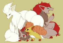 artist_request fox multiple_tails ninetales no_humans pokemon pokemon_(game) vulpix yawn zoroark zorua