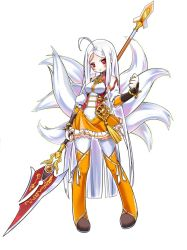 1girl ahoge albino angry ara_han ara_han_(celestial_fox) arm_warmers bare_shoulders blush boots elsword fox_tail full_body little_xia_(elsword) long_hair looking_at_viewer multiple_tails official_art open_mouth orange_boots orange_skirt polearm red_eyes sando_(artist) simple_background skirt solo spear standing tail thigh_boots thighhighs weapon white_hair