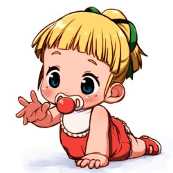 1girl baby bib blonde_hair blue_eyes blush crawling miyasaka_takaji pacifier rockman roll simple_background solo white_background younger