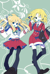 2girls :d ;d alternate_costume bag blonde_hair blue_eyes buttons earrings hair_ribbon jewelry kalinka_cossack long_hair multiple_girls necktie one_eye_closed open_mouth opepeko payot ponytail ribbon rockman rockman_(classic) roll school_bag school_uniform serafuku short_hair skirt smile thighhighs zettai_ryouiki
