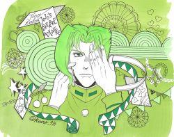 1boy character_name cherry copyright_name food fruit gakuran green green_eyes green_hair hand_over_eye heart jojo_no_kimyou_na_bouken kakyouin_noriaki kuiro_916 male_focus school_uniform solo star twitter_username
