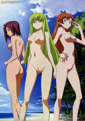 3girls :< ass beach blue_eyes breasts c.c. cloud code_geass female green_eyes green_hair hand_on_hip highres hips kallen_stadtfeld legs long_hair looking_at_viewer looking_back mound_of_venus multiple_girls navel nipples nude nude_filter orange_hair outdoors photoshop profile pussy red_hair shirley_fenette sky standing sunlight tree uncensored yellow_eyes