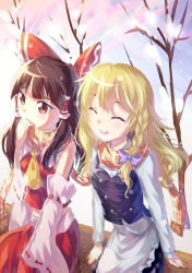 2girls :d ^_^ absurdres ascot blowing blush bow braid brown_hair commentary couple detached_sleeves eyes_closed hair_bow hakurei_reimu happy highres hinasumire kirisame_marisa long_hair long_sleeves multiple_girls no_hat no_headwear open_mouth red_eyes scarf shared_scarf side-by-side side_braid single_braid sitting smile snow snowflakes teeth touhou vest warming_hands wavy_hair winter yuri