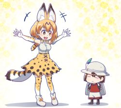 2girls animal_ears backpack bag blonde_hair boots bow bowtie brown_hair commentary_request elbow_gloves eyes_closed feathers frisk_(undertale) gloves hat kaban kemono_friends leaf_print multiple_girls open_mouth outstretched_arms pantyhose safari_hat serval_(kemono_friends) serval_ears serval_tail shadow shirt shoes short-sleeved short_hair short_sleeves shorts skirt sleeveless sleeveless_shirt smile spread_arms t-shirt tail thighhighs tomoyohi translation_request undertale yellow_background zettai_ryouiki