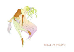 1girl blue_eyes bow breasts cape detached_sleeves dissidia_012_final_fantasy dissidia_final_fantasy dress earrings elbow_gloves final_fantasy final_fantasy_vi gloves green_hair hair_ribbon jewelry long_hair pantyhose ponytail ribbon solo strapless strapless_dress tina_branford tuppu