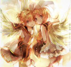 1boy 1girl ;o angel_wings blonde_hair blue_eyes detached_sleeves hair_ornament hairband hairclip highres inaresi interlocked_fingers kagamine_len kagamine_rin looking_at_viewer necktie one_eye_closed sailor_collar skirt smile vocaloid wide_sleeves wings