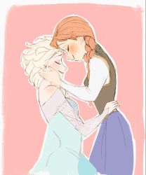 2girls anna_(frozen) elsa_(frozen) forehead-to-forehead frozen frozen_(disney) incest multiple_girls nyamo siblings simple_background sisters yuri