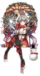 1girl bell black_boots boots bow christmas christmas_wreath elsword eve_(elsword) forehead_jewel gloves grey_hair highres merry_christmas no_nose orange_eyes red_bow red_ribbon red_skirt ribbon shirt short_hair sitting skirt snowman solo thigh_boots thighhighs utut white_gloves white_shirt