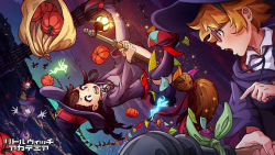 artist_name black_dress black_ribbon broom broom_riding brown_hair character_request copyright_name dress fairy flying freckles glasses hair_over_one_eye hat highres little_witch_academia long_hair long_sleeves magion02 multiple_girls night night_sky open_mouth pointing pumpkin purple_hair red_eyes ribbon short_hair skull sky sparkle upside-down wide_sleeves witch witch_hat