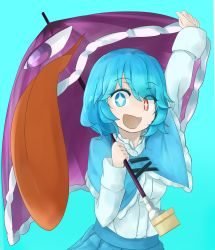 1girl arm_up blue_background blue_eyes blue_hair capelet karakasa_obake long_sleeves looking_at_viewer open_mouth red_eyes shirt short_hair simple_background skirt smile solo sparkling_eyes tatara_kogasa tongue touhou tyouseki umbrella upper_body