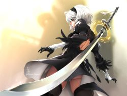 1girl black_dress blindfold boots dress feather-trimmed_sleeves feguimel magic_circle nier_(series) nier_automata panties pantyshot pantyshot_(standing) short_hair silver_hair solo standing sword thighhighs underwear upskirt weapon weapon_on_back yorha_no._2_type_b