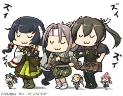 6+girls :3 aviator_cap black_hair blonde_hair boots commentary dancing dated detached_sleeves eyes_closed fairy_(kantai_collection) furisode glasses_on_head goggles goggles_on_head green_hair grey_hair hachimaki hair_ornament hair_ribbon hair_tubes hakama hamu_koutarou headband high_ponytail japanese_clothes kantai_collection kimono light_brown_hair long_hair low-tied_long_hair mizuho_(kantai_collection) multiple_girls muneate namesake pleated_skirt purple_hair revision ribbon ribbon-trimmed_sleeves ribbon_trim school_uniform serafuku simple_background size_difference skirt tasuki thigh_boots thighhighs translation_request twintails very_long_hair white_background yugake zui_zui_dance zuihou_(kantai_collection) zuikaku_(kantai_collection)