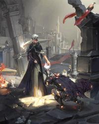 1girl armor ashen_one_(dark_souls_3) banner bird blonde_hair cape dark_souls_iii fire_keeper kneeling long_hair polskash souls_(from_software)