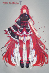 1girl absurdly_long_hair asymmetrical_sleeves cherry_blossoms china_dress chinese_clothes comb_(suz) dress facing_viewer floral_print frilled_dress frills full_body grey_background hair_ribbon highres layered_dress long_hair mary_janes obi original petals pixiv_fantasia pixiv_fantasia_t red_hair red_legwear ribbon sash shoe_flower shoe_strap shoes solo thighhighs very_long_hair willow yellow_eyes zettai_ryouiki