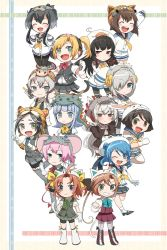 6+girls akigumo_(kantai_collection) amatsukaze_(kantai_collection) animal_hat black_eyes black_hair blonde_hair blue_eyes brown_eyes brown_hair chinese_zodiac etotama eyes_closed gloves green_eyes grey_hair grin hair_ornament hairband hairclip hamakaze_(kantai_collection) hand_on_hip hat hatsukaze_(kantai_collection) highres isokaze_(kantai_collection) itomugi-kun kagerou_(kantai_collection) kantai_collection kuroshio_(kantai_collection) long_hair maikaze_(kantai_collection) multiple_girls nowaki_(kantai_collection) one_eye_closed pink_hair ponytail purple_eyes shiranui_(kantai_collection) short_hair simple_background smile striped_background tanikaze_(kantai_collection) tokitsukaze_(kantai_collection) twintails uniform urakaze_(kantai_collection) vest yukikaze_(kantai_collection)
