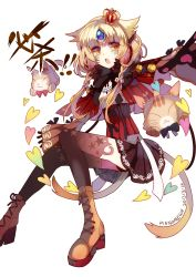 1girl 2015 :o animal_ears athria black_bow black_gloves black_legwear black_skirt blonde_hair boots bow braid cat cat_ears cat_tail cross-laced_footwear crown dated elsword eve_(elsword) forehead_jewel gloves heart highres kemonomimi_mode lace-up_boots mini_crown multiple_tails short_hair signature skirt solo tail thighhighs white_background yellow_eyes