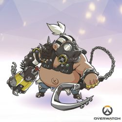 1boy artist_request chains chibi copyright_name fat fat_man full_body gas_mask gun lowres male_focus mask official_art overwatch roadhog_(overwatch) shirtless solo spikes weapon white_hair x_navel