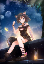 1girl animal_ears anklet artist_name backlighting bare_legs bare_shoulders bell black_hair black_ribbon black_shoes bloom blue_eyes bottle bracelet breasts byakuya_reki cat_cutout cat_ears cat_lingerie choker cleavage cleavage_cutout collarbone dress foreshortening highres holding_necklace jewelry jingle_bell looking_at_viewer meme_attire necklace night off-shoulder_dress off_shoulder original outdoors pearl_bracelet pendant plant revision ribbon ribbon_choker shoes short_hair sitting sky smile solo space_print sparkle star star_(sky) starry_sky starry_sky_print tree