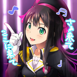 1girl a-rise black_hair blush bust cosplay gloves green_eyes haruichi hat idolmaster idolmaster_cinderella_girls long_hair love_live!_school_idol_project open_mouth pointing pointing_up shibuya_rin solo white_gloves