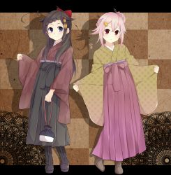 2girls ahoge alternate_hairstyle black_hakama blue_eyes boots bow hair_bow hair_ornament hakama harusame_(kantai_collection) highres japanese_clothes kantai_collection kimono kinchaku letterboxed looking_at_viewer meiji_schoolgirl_uniform multiple_girls outside_border pink_hair pink_hakama pouch purple_hakama red_eyes shadow shigure_(kantai_collection) smile yagasuri yukichi_(eikichi)