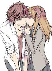 1boy 1girl blazer bow gekkan_shoujo_nozaki-kun hair_bow loli_bushi mikoshiba_mikoto orange_hair polka_dot polka_dot_bow purple_eyes red_hair sakura_chiyo school_uniform sweatdrop whispering