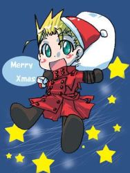 1boy aqua_eyes blonde_hair blush_stickers carrying chibi christmas coat earrings english hat high_collar jewelry long_hair lowres mole open_mouth red_coat sack santa_hat short_hair smile solo spiked_hair star text trigun vash_the_stampede