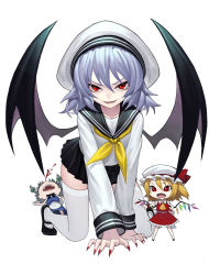 >:) 3girls all_fours alternate_costume ascot bat_wings black_necktie black_shoes black_skirt black_wings blood braid chibi collarbone crystal fangs fingernails fkey flandre_scarlet full_body hair_between_eyes hat hat_ribbon highres izayoi_sakuya long_sleeves looking_at_viewer maid mary_janes miniskirt mob_cap multiple_girls nail_polish neck_ribbon neckerchief necktie nosebleed parted_lips pleated_skirt red_eyes red_nails red_ribbon remilia_scarlet ribbon sailor_hat school_uniform serafuku sharp_fingernails shoes siblings silver_hair simple_background sisters skirt skirt_set smile thighhighs touhou twin_braids white_background white_legwear wings wristband zettai_ryouiki