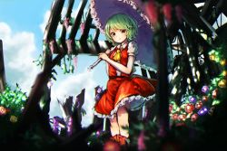 1girl ascot blue_sky blurry boots cloud flower frills green_hair kazami_yuuka looking_at_viewer nature parasol parted_lips puffy_sleeves pyonsuke0141 red_eyes shirt short_hair short_sleeves skirt skirt_set sky solo touhou umbrella upskirt vest