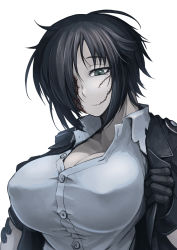 1girl black_hair breasts buttons cleavage collared_shirt dress_shirt gloves green_eyes hair_over_one_eye hetza_(hellshock) jacket large_breasts messy_hair nagai_gojitsudan_no_nechronica open_clothes open_jacket scar shirt short_hair simple_background solo white_background