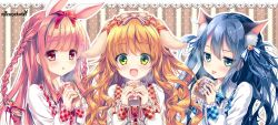 3girls :d :o :p animal_ears bangs bell blouse blue_hair blue_ribbon blush bow braid brown_eyes bunny_ears bunny_girl bunny_hair_ornament carrot_hair_ornament cat_ears cat_girl checkered closed_mouth cup dog_ears dog_girl eyebrows_visible_through_hair fang food_themed_hair_ornament frills green_eyes hair_between_eyes hair_bow hair_ornament hair_ribbon holding holding_cup jingle_bell jitome lace_background long_hair long_sleeves looking_at_viewer mizuki_yuuma multiple_girls open_mouth orange_ribbon original pink_hair polka_dot polka_dot_background red_ribbon ribbon smile striped striped_bow striped_ribbon tareme tongue tongue_out tress_ribbon two_side_up upper_body vertical-striped_background vertical_stripes wavy_hair white_blouse white_bow yellow_eyes