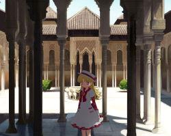 ashita_no_nadja blonde_hair blue_eyes building dress hat long_hair moai_(aoh) nadja_applefield shade solo