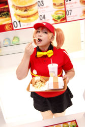 1girl asian bowtie brand_name_imitation brown_eyes brown_hair chouzuki_maryou cosplay cup drinking_straw eating employee_uniform fast_food fast_food_uniform food french_fries hamburger hataraku_maou-sama! photo plump polo_shirt ribbon sasaki_chiho sasaki_chiho_(cosplay) short_hair short_twintails skirt solo tray twintails uniform visor_cap